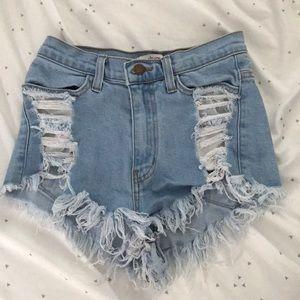 Distressed high waist denim shorts